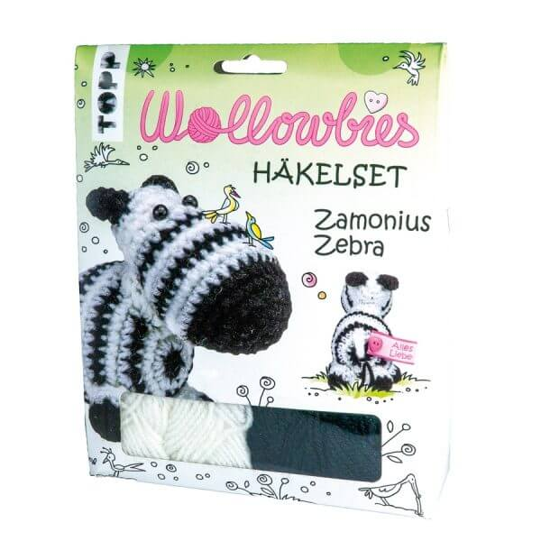 4er Set: Wollowbies Häkelset Zamonius Zebra